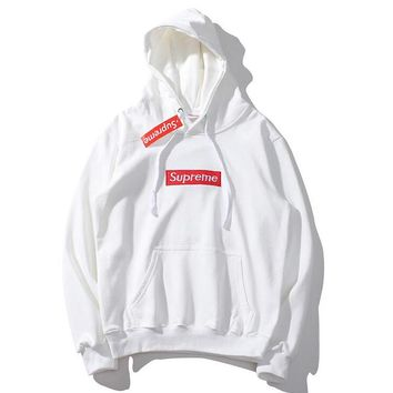 Supreme Autumn And Winter New Fashion Bust Embroidery Letter Women Men Hooded Long Sleeve Sweater White
