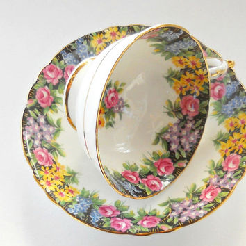 Vintage Paragon By Appointment to Her Majesty the Queen Old English Garden Footed Tea Cup and Saucer,Fine Bone China, Tea Parties