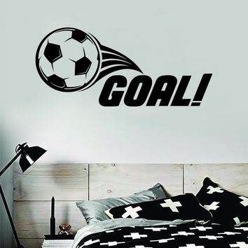 Goal Soccer Decal Sticker Wall Vinyl Art Home Decor Inspirational Sports Teen Futbol Football Goalie FIFA