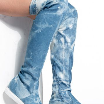 Blue Washed out Thigh High Boots @ Cicihot Boots Catalog:women's winter boots,leather thigh high boots,black platform knee high boots,over the knee boots,Go Go boots,cowgirl boots,gladiator boots,womens dress boots,skirt boots.
