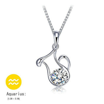 12 Zodiac Signs Sterling Silver Necklace