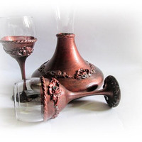 Copper Wedding Set Wine Decanter Wine Goblets Wine Glasses Personalized Wine Carafe Wedding Toast  Anniversary Gift Gift for Couple