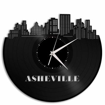 Asheville Clock, Birthday Gifts, North Carolina Cityscape, Skyline Wall Decor, Vinyl Wall Art,  Vintage Vinyl Record Custom Decoration Idea