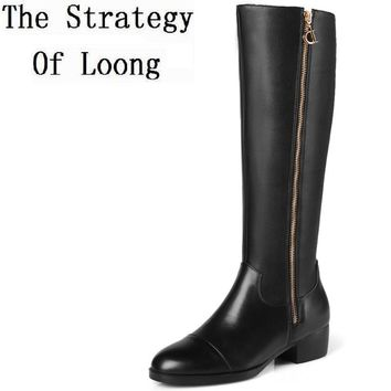 Women Genuine Leather Knee High Long Boots Low Thick Heels Lady Real Leather Knight High Boots Plus Size 41 42 43 44 45 Big Size