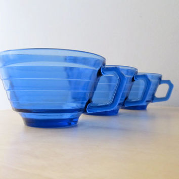 cobalt blue depression glass hazel atlas moderntone art deco glassware cups