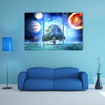 Composite Image Of Solar System Multi Panel Canvas Wall Art