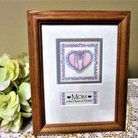 Framed Art Mom Mother's Day Oak Glass Matted Desk top or Wall Hanging Home Decor BB