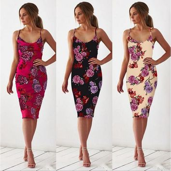 Women Sexy V Neck Low Cut Backless Print Slim Bodycon Dress