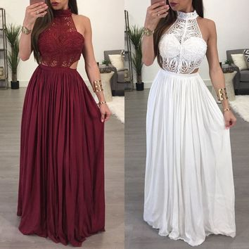 Lace Boho Casual Long Maxi Evening Party Cocktail Beach Dress