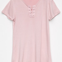 IVY & MAIN Lace Up Girls Tee | Knit Tops + Tees