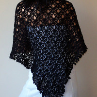 Black Shawl cozy crochet elegant wrap