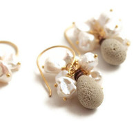 Gold Bridesmaid Earrings Keishi Pearls Art Glass and Gold Vermeil Set of 3 pairs - Sand Dune