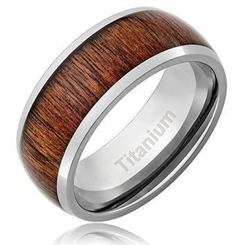 8MM Titanium Ring Wedding Band Domed Top Wood Inlay | FREE ENGRAVING