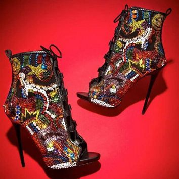 Colorful Caged Open Toe High Heel Ankle Boots