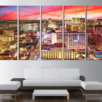 Las Vegas wall art canvas print, Las Vegas skyline night wall art, extra large wall art, large Las Vegas skyline canvas art print t368