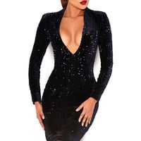 Clothing : Structured Dresses : 'Kourris' Navy Sequinned Long Sleeve Dress