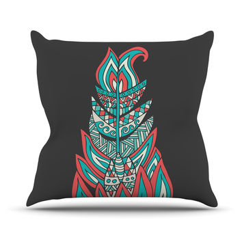 """Pom Graphic Design """"A Romantic Feather"""" Red Teal Throw Pillow"""