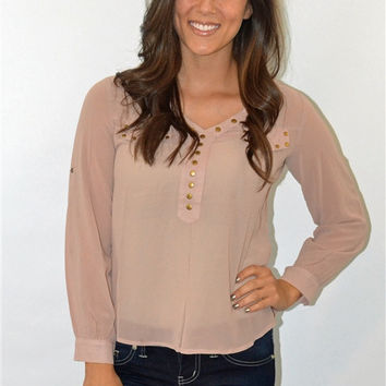 Stud V-Neck Long Sleeve Top (Taupe)