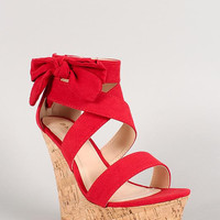 Bamboo Suede Bow Open Toe Platform Wedge Color: Red, Size: 6