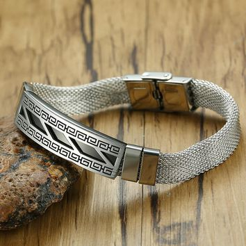 Men's Greek Key Design ID Bracelet Male Stainless Steel Wire Mesh Chain Party Singer Hip Hop Bangle for Men Jewelrly 8.26 INCH