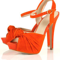 LOIS Orange Suede Knot Detail Platform Sandals - High Heels - Heels - Shoes - Topshop USA