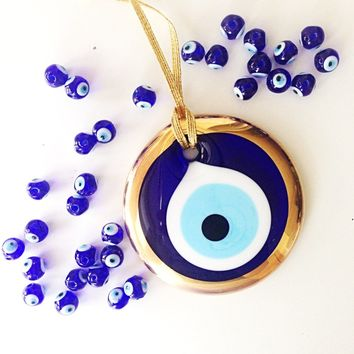 gold evil eye bead - 7cm - evil eye wall hanging - gold evil eye charm - large evil eye - turkish evil eye - nazar boncuk - evil eye decor