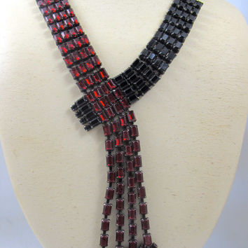 Vintage Butler and Wilson Necklace Dark Red Black Rhinestone Bypass Dangle Crossover
