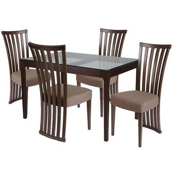 Oakdale 5 Piece Espresso Wood Dining Table Set with Glass Top and Dramatic Rail Back Design Wood Dining Chairs - Padded Seats