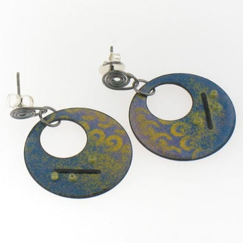 Purple, Blue and Yellow Circle Hanging Enamel Earrings
