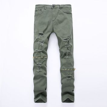Knee zipper Ripped Men Jeans Biker Distressed Jeans Skinny Punk Denim Trousers Men's Army Green 6color Jeans Men plus size 42