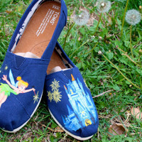 Tinker Bell  and Disney World Magic Kingdom Cinderella's Castle  Painted TOMS Vans or other shoes Artwork Only. Shoes not included