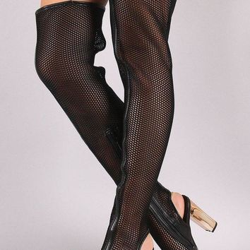 LMFIW1 Bamboo Netted Peep Toe Chunky Heeled Over-The-Knee Boots