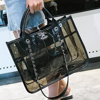 Hot 2018!Chanel Fashion Women Single Shoulder Handbag Big Jelly Package Beach Transparent Bag Chain Bag Inclined Shoulder Bag Black I12100-1