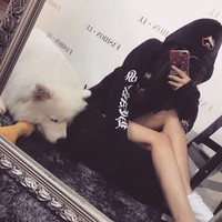 """Chrome Hearts"" Women Casual Personality Horseshoe Letter Print Loose Long Sleeve Pullover Hooded Sweater Tops"