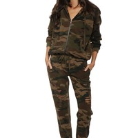 Brooklyn Karma Zip Up Camo Hoodie