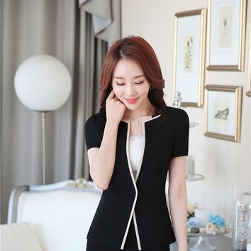 Professional Formal OL Styles Business Women Blazers Jackets Short Sleeve Summer Blazer Tops Outwear Clothes