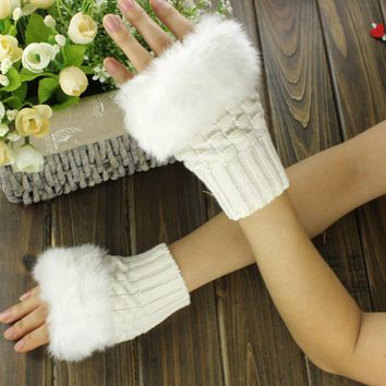 NEW Women Winter Gloves Half Faux Rabbit Fur Office Gifts Outdoor Fun Solid Gloves Women Finger Out Novelty Gloves
