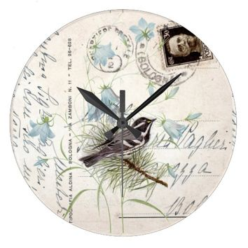 Vintage Bird Flowers Italian Postcard Clock