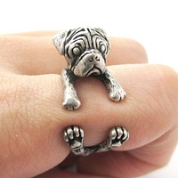 Realistic Pug Puppy Dog Shaped Animal Wrap Around Ring in Silver | Sizes 4 to 8.5