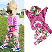 Toddler Kids Baby Girls Clothes Flower Long Sleeve T-shirt Tops Warm Pants Outfits 2PCS Hooded Clothes Sets