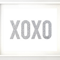 Instant download - Glitter XOXO printable, silver glitter typography quote print wall art, printable party decor, valentine sign pdf -gp028