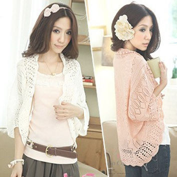 New 2015 Women Fashion Sweater Crochet Knit Top Shawl Batwing Sleeve Hollow Out Cardigan Sweater Autumn Knitwear Cardigans 2360 = 1946794500