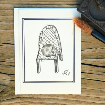 sumi e painting blank card:Calico cat having a nap on a chair/Japanese painting/Watercolor painting/Black ink painting