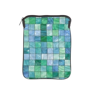 SHINY BLUE AND GREEN TILE MOSAIC IPAD SLEEVE