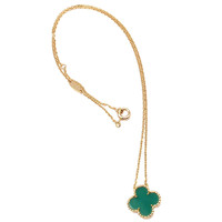 Van Cleef & Arpels Vintage Alhambra Green Agate Gold Necklace