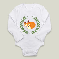 Sleeping Fox with Laurel Wreath Long-Sleeve Onesuits by jannasalak on BoomBoomPrints