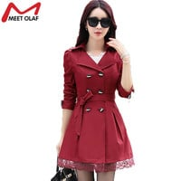 Women Trench Coat Fashion Plus Size Lace Slim Double-Breasted Trench Coats Female Casual Windbreaker Outwear 7 Colors YL0667