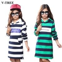 V-TREE Velvet Girls Sweatshirt Thicken Winter Hooded Girls T Shirt Long Section T-shirt For Girls 4-12 Years Teen Clothes