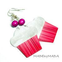 Sweet Cupcake Earrings , Pink & Whipped Cream, Long dangle 2- sided Jewelry, Free Worldwide Shipping