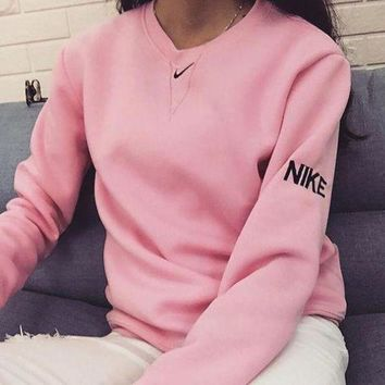 CREYON Nike Women Fashion Embroidery Long Sleeve Top Sweater Pullover Sweatshirt Day First